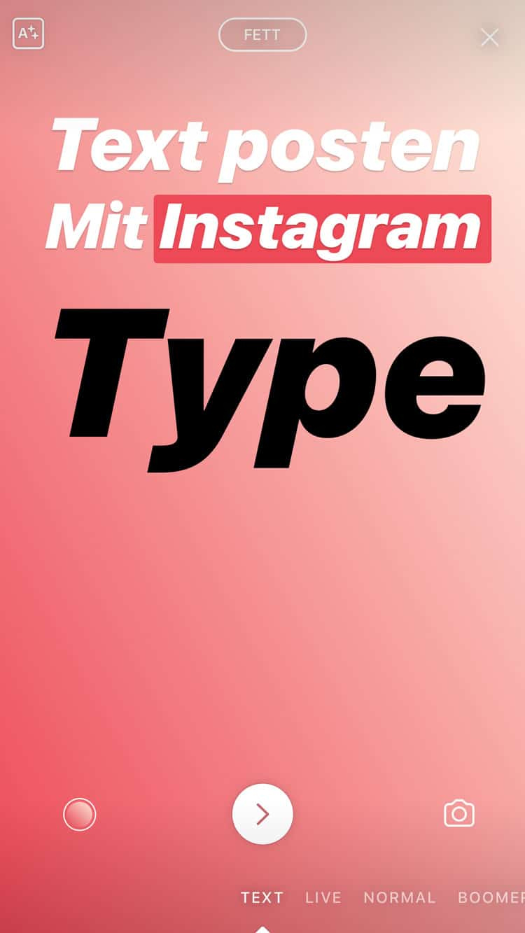 Instagram Stories Type Text Optionen